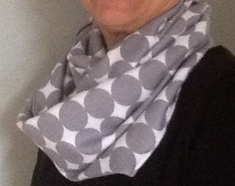 Soft grey and white cotton scarf