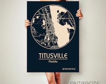 TITUSVILLE Florida CANVAS Map Titusville Florida Poster City Map Titusville Florida Art Print Titusville Florida poster Titusville Florida