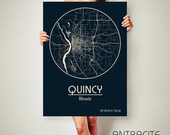 QUINCY Illinois CANVAS Map Quincy Illinois Poster City Map Quincy Illinois Art Print Quincy Illinois poster Quincy Illinois map