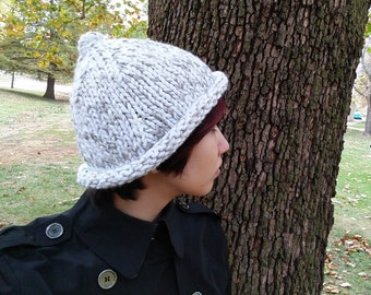 Silver Brimmed Knitted Hat