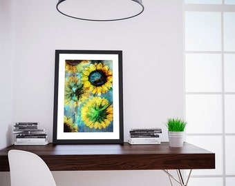 Sunflower Poster sunflower art sunflower gift botanical print sunflower kitchen decor sunflower print sunflower Cotton Canvas & Paper Canvas