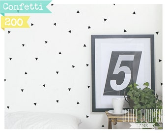Confetti Triangles | Modern Wall Decal Vinyl Sticker | 2.5x 3cm | for Boys or Girls | Sets of 200 | For Nursery, Kids OR Teens Room_ID#1415