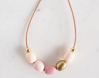 Blush pink, peach and gold polymer clay necklace