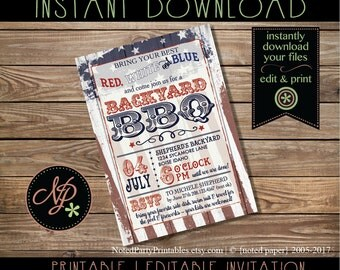Antique Fourth of July Invitation  | PRINTABLE 4th of July BBQ Invite | Independence Day Invite | Instant Download pdf | Red White &Blue BBQ