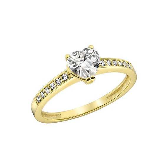 14K Yellow Gold Lab Created Diamond Engagement Ring by KANTILAKI