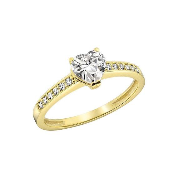 14K Yellow Gold Lab Created Diamond Engagement Ring by KANTILAKI