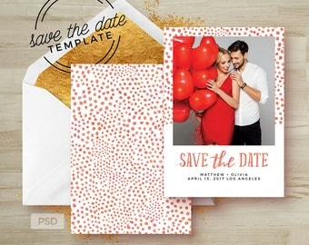 Save the Date Card Template - Wedding Announcement Card Template - Watercolor Save the Date Card PSD - Photography Marketing Template - PSD