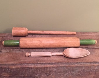 Vintage Kitchen Wooden Kitchen Utensils Wooden Spoon Roller Potato Masher 1960s Antique