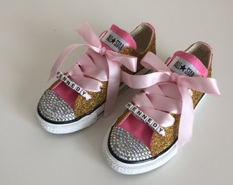Gold Glitter and Rhinestone Converse Shoes