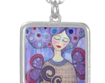 NECKLACE sterling silver plated: 'Finding Her New Wings ' ~ mixed media artwork by Amanda Stelcova