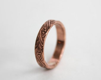 Size 11 - Copper Ring with Vine and Berry Pattern - Rustic Floral Copper Pattern Band - Unisex Copper Promise Ring - Ready to Ship