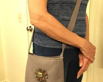 Floral Accessorized Crossbody Handbag