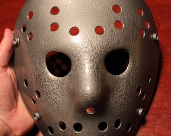 Hammered Grey Metal Jason Voorhees Friday the 13th Hockey Mask