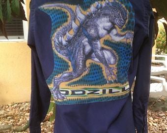 Godzilla Men's Shirt Godzilla Dickies Work Shirt Godzilla Men's Gift Size Medium