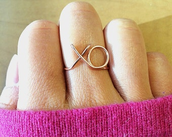 XO Ring ~14K Gold /Rose Gold-Filled /Sterling Silver Wire ~Hugs and Kisses Love xoxo ~Couples /Girlfriend Gift /Summer ~Adjustable