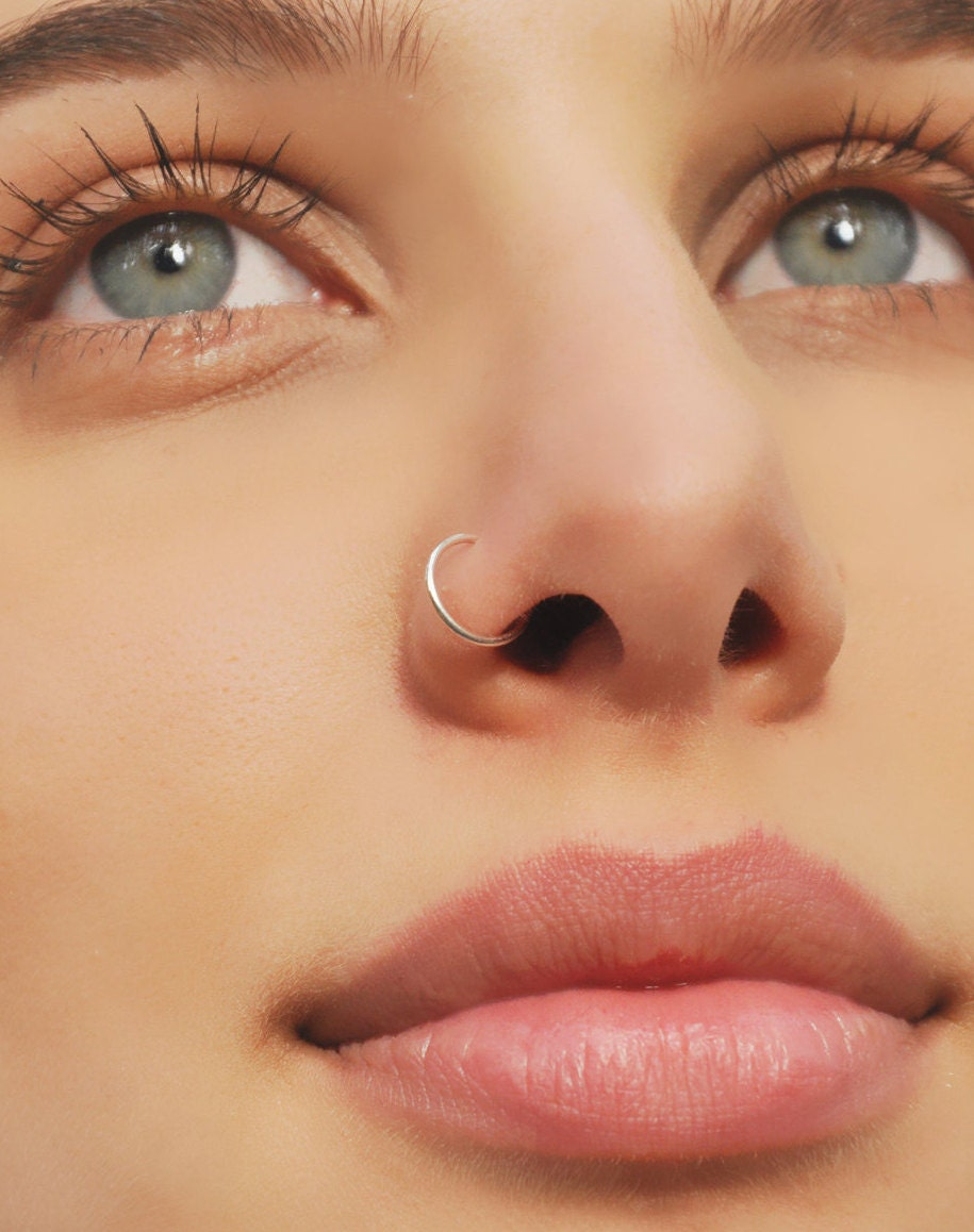 Nose Ring/Sterling Silver Nose Ring/Cartilage Hoop Earring/24