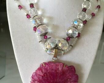 Dazzling Magenta Quartz and Crystal Necklace