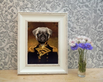 Pug In Uniform Framed Pet Portrait Print