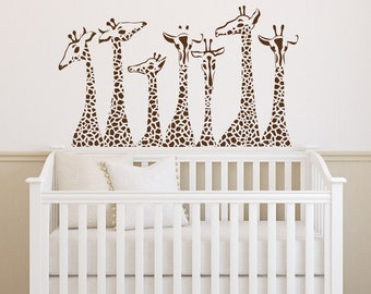 Giraffe Wall Decal- Animal Wall Decal Giraffes- Safari Jungle Vinyl Wall Decals Animals Nursery Kids Bedroom Living Room Home Decor 037