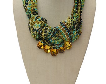 Fabric Knot Necklace with Glass Beading