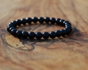 Black Onyx - 6mm Genuine Semi Precious Stone Bracelet