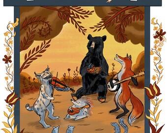 Folkgrass Happenstance, folk music, animals playing instruments, bear, fox, bobcat, hedgehog, folk art illustration print