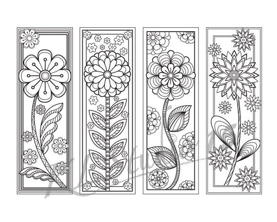 Blooming spring- Coloring Bookmarks Page, Instant Download, Relax ...