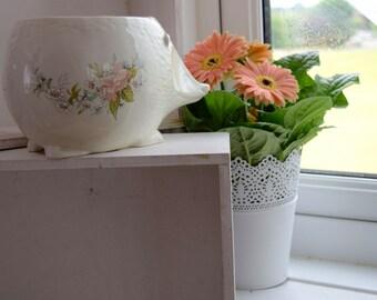 Hand painted, vintage, ivory colored, ceramic floral hedgehog indoor planter, wedding gift, gift, housewarming gift, for him or for her