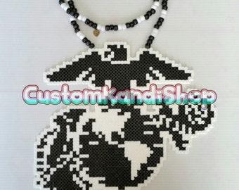 Marine Eagle & Anchor Logo Perler Necklace