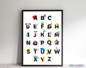 Personalized ABC Chart, Alphabet Poster, Alphabet Canvas, ABC Print,  Alphabet Chart,