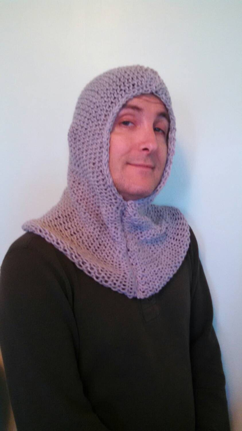 Chainmail Hood Knitting Pattern : Chain Mail Hood Knit/Adult by SwordsAndStitches on Etsy