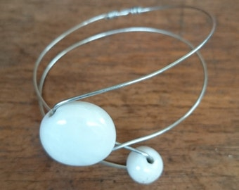 Opalescent White Ceramic Bead and Silver Wire Bracelet