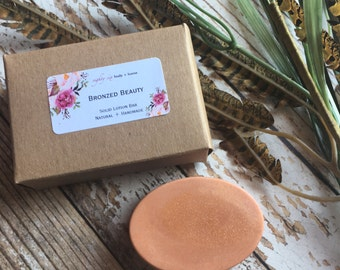 BRONZED BEAUTY Solid Body Lotion Bar + Bronzing Spa Massage Bar + Tinted Moisturizer + Summer Glow Dry Skin Care
