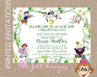 Custom Printed Nursery Rhyme Baby Shower Invitation - Cow Jumped Over the Moon, Hey Diddle Diddle, The Cat and the Fiddle, Little Bo Peep