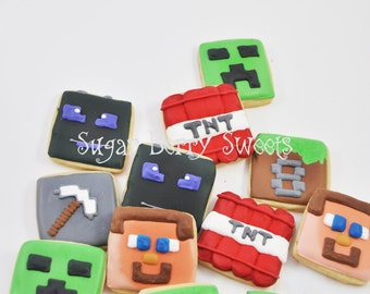 Minecraft sugar cookies - cute - minecraft party favor - birthday party - video game party- steve - creeper - TNT