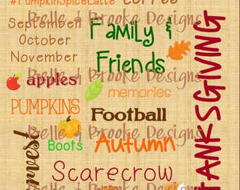 Fall Theme Words - 8 x 10 Printable