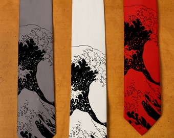 The Great Wave off Kanagawa Necktie - Wave Tie - Japanese Art Necktie - Line Art - Ocean Waves - Art From Japan