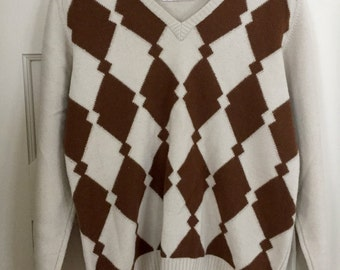 Vintage V-Neck Argyle Wool Sweater in Cream and Brown