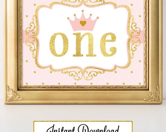 Printable Princess Pink and Gold-A 024 One Party Sign, Wall Art, Party Decoration, Baby Shower, Birthday