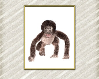 Baby Monkey print Nursery wall art Monkey print Nursery prints Nursery decor Safari animal print Baby Animals digital print instant download