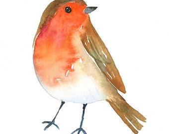 Robin Original Art - Watercolor Bird Painting - 5 x 7 - Baby Nursery Art