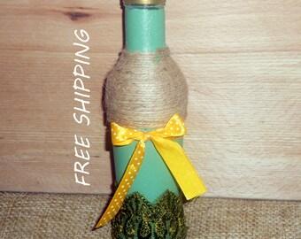 painted glass bottle, vase, decorative glass bottle, decoupage bottle