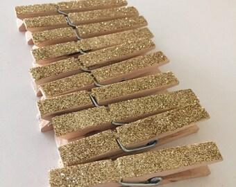 Gold Glitter Clothespins- Wedding, Birthday, Home Decoration, Bridal Shower, Baby Shower, Dorm Decor