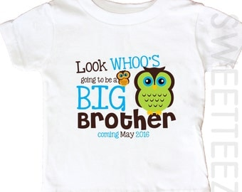 Big Brother Owl ShirtLook Whoo  Big cousin Sibling Announcement Personalized  Shirt