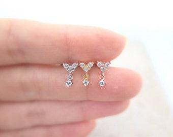 Dangle Piercing/Tragus Earring/Cartilage earring/CZ stud ear piercing/Tragus Piercing/CZ piercing/Labret bar optional/Helix Earring/conch