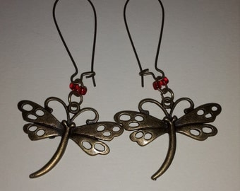 Bronze Dragonfly Earrings