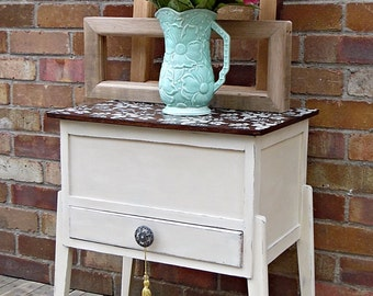 SOLD Vintage upcycled sewing box, cabinet, stencilled painted furniture, waxed, Annie Sloan