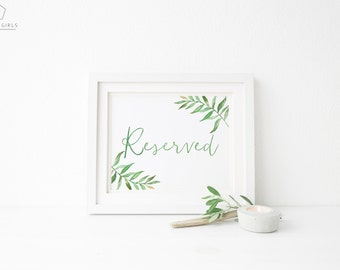 Printable Reserved Sign / Green Leaf / Romantic Greenery Wedding Signs / Calligraphy Sign / Printable Wedding Reserved Sign / Amelia