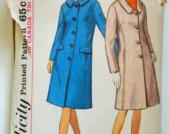 1960s Simplicity Vintage Sewing Pattern 6182, Size 12; Misses' Coat with Two Necklines