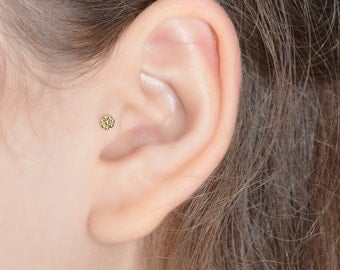Small TRAGUS STUD / Brass nose stud, cartilage stud, helix earring, tragus earring, 16g cartilage earring, piercing jewelry